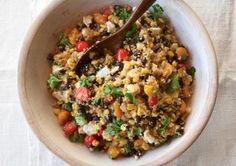 Quinoa with Black Beans, Corn, Feta & Lime juice