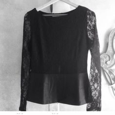 Sale  2xHost PickNew Peplum faux leather lace Beautiful top with button down back. Elegant lace sleeves. Nylon spandex. Small 6-8 Boston Proper Tops