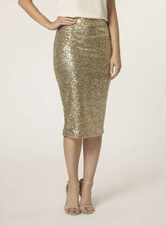 Gold Sequin Pencil Skirt