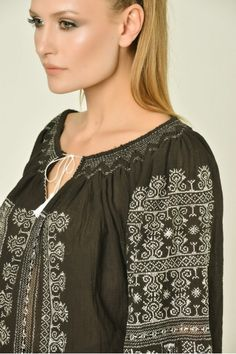 roumanian peasant blouse , roumanian folk fashion shop www. Peasant Blouse, Ruffle Blouse, Office Wardrobe, Folk Fashion, Embroidered Blouse, Traditional Outfits, Clothes For Women, How To Wear, Dresses
