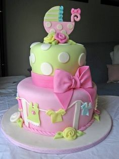 Fun Baby Shower Cake. But switch out the pink for purple