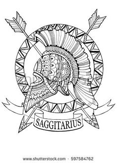 Sagittarius zodiac sign coloring book raster illustration. Tattoo stencil. Black and white lines. Lace pattern