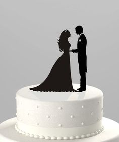 Wedding Cake Topper Silhouette Groom and Bride, Acrylic Cake Topper [CT38]