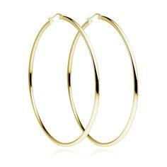 2mm X 35mm All Shiny Plain Hoop Earrings 14K Yellow Gold Clad Silver 925