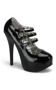 Gorgeous Bordello platforms with buckles in a black patent material. A must have item! £51.99.