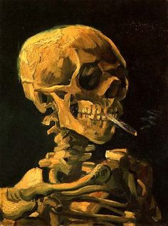 Skull with burning cigarette, Van Gogh