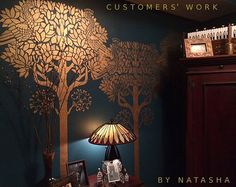 Stencil voor muren - grote Art Deco boom met vogels - Over 6 feet Tall - herbruikbare stencil voor DIY home decor