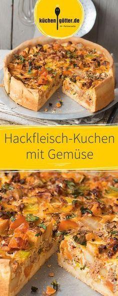 Das perfekte Gericht für echte Hackfleisch-Liebhaber: Leckerer und schnell zubereiteter Hackfleisch-Kuchen mit Gemüse. Ähnlich vorzustellen, wie eine Quiche.