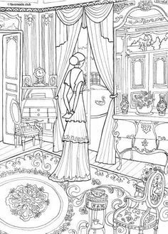 Victorian Interior printable adult coloring page