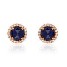 Rosie 5.0mm Lapis & Diamond Post Earrings