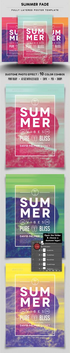 Buy Summer Fade Poster Template by tornadador on GraphicRiver. Summer Fade Poster Template High Quality 3 PSD Files Included Fully Editable Text with bleeds 300 DPI CMY. Web Design, Graphic Design Layouts, Tool Design, Graphic Design Inspiration, Flyer Design, Layout Design, Poster Design, Poster Layout, Print Design