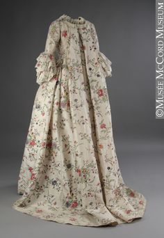 "1763 British Robe à la française (back view) at the McCord Museum, Montreal - From the curators' comments: ""This charming dress was worn by Mary Chaloner in Guiseborough, England, when she married Colonel John Hale. The groom had served under Major-General James Wolfe in the Battle of the Plains of Abraham in Quebec, and it was he who brought the news of Wolfe's death back to George III in England."""