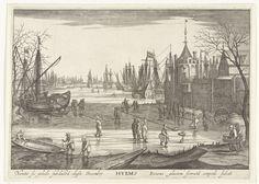 Robert de Baudous | Winter, Robert de Baudous, Cornelis Claesz. van Wieringen, 1591 - 1618 | Schaatsers op het ijs. Op de achtergrond schepen in het ijs. Rechts de oever met de rand van een stadje. Met een onderschrift in het Latijn. Prent uit een serie met de vier seizoenen verbeeld als zeegezichten.