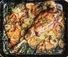 Αρνί μπούτι με γιαούρτι στο φούρνο | Συνταγή | Argiro.gr Food Categories, Turkey, Chicken, Meat, Recipes, Greece, Salad, Turkey Country, Rezepte