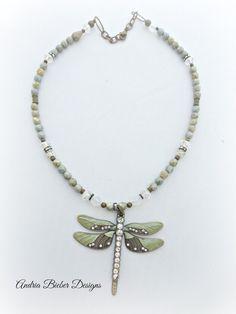 Mint green, bronze, crystal dragonfly pendant, Czech glass, rhinestone necklace.
