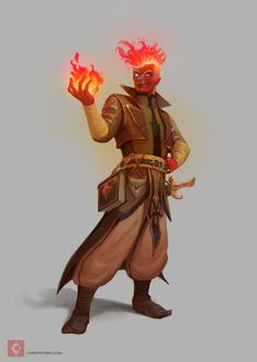 Firezard, my friend's character from D&D, he's a fire Genasi. We are playing the Hoard of the Dragon Queen campaign.