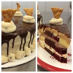 Carlo's Cake Mash-up: Chocolate, vanilla, red velvet cake filled with lobster tail cream, chocolate mousse, frosted in cannoli cream, covered in chocolate ganache and topped with cannoli cream swirls and cannoli shell chips #grabyourforks #carlosbakery #dessert #mashup