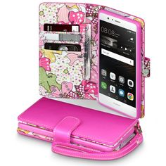 Terrapin Huawei P9 Lite Premium PU Leather Wallet Case - Pink Lily Floral