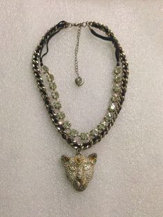 Betsey Johnson Necklace  Cougar Encrusted Rhinestone Face Rare HTF #BetseyJohnson #Statement
