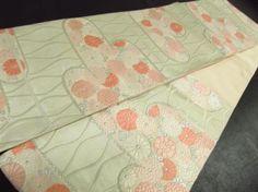 Japanese-Kimono-SILK-FUKURO-OBI-FLOWER-LEAF-Chrysanthemum-KIKU-1741-468YA