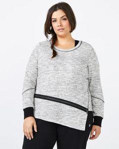 Athleisure - Plus-Size Asymmetric Pullover