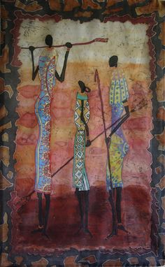 Painting on silk Africa Wall hanging Batik Cracle by ArtbyLora, $110.00