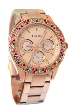 Fossil ES3198 Stella Stainless Steel Watch, Rose: Watches: