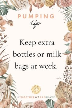 To be prepared for anything, keep extra bottles to pump in and milk storage bags in your office or in your car so you are never without! #pregnancy #maternity #breastfeeding #nursing #pumpingtips pumping tips, breast pump, how to pump breast milk, pumping and returning to work, exclusive pumping, milk supply, low supply, galactagogues, breastfeeding tips, breastfeeding facts, how to breastfeed, breast is best, formula, maternity, pregnancy, breastfeeding, nursing, pumping, newborn, birth Breastfeeding Facts, World Breastfeeding Week, Diy Postpartum, Exclusively Pumping, Preparing For Baby, Before Baby, Pregnancy Humor, Natural Birth, Milk Supply