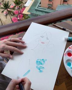 Ocean blue, today in Hawaii. Kerrie Hess, Fashion Illustrations, Hawaii, Ocean, Cards, Blue, Painting, Instagram, Painting Art