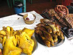 comida colombiana, fritanga y gallina criolla