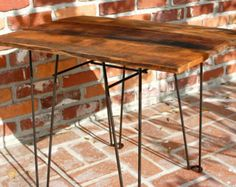 Reclaimed Barn Wood Side Table with Hairpin Legs - Rustic Modern Style *Free shipping*