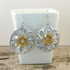 soda tab - rose gold pop tab flower earrings  pair  crochet by tabsolute, $10.00 - love this pair!  #sodatab