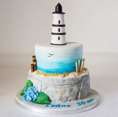 Les Délices de Marion Beautiful Cakes, Amazing Cakes, Lighthouse Cake, Wave Cake, Cookie Recipes For Kids, Camo Wedding Cakes, Nautical Cake, Beach Cakes, Cake Wrecks