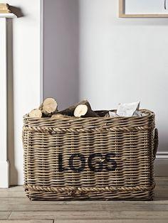 Large Rattan Log Basket Shoe Storage Furniture, Home Decor Furniture, Wicker Furniture, Firewood Storage, Storage Baskets, Fireplace Accessories, Home Decor Accessories, Indoor Log Holder, Fireplace Logs