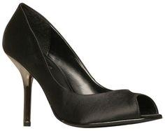 Carvela Gabbi Satin Peep Toe Court Shoes, Black