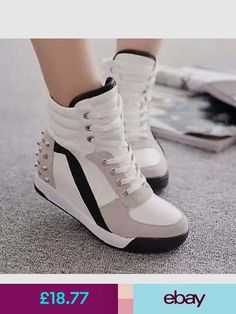 a3826f789977 Womens High Top Rivet Girls Casual Trainer Boots Wedge Heel Sneakers Shoes  New