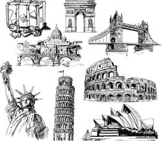 I want to take sketches/vectors such as these and place them over my halftone background, the sketch will most likely be of a landmark/symbol representing the country that the quote/the person quoted originates from.g Singapore - Merlion Famous Monuments, Famous Buildings, Art Sketches, Art Drawings, Stippling Art, Building Sketch, Free Hand Drawing, Urban Sketchers, Kirchen