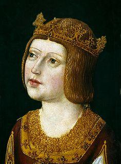 """ISABEL I """"La Católica"""" (1451 - 1504), Reina de Castilla y León en 1474, Reina consorte de Aragón, de Mallorca y de Sicilia en 1479, Reina de Granada en 1592. Fue hermana y sucesora de su hermano el rey Enrique IV, tras usurpar el trono a su sobrina Juana de Castilla, legítima heredera de Castilla."""