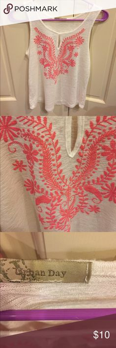 Used off white knit tank w floral design Off white knit tank w coral color design faux embroidery. Design is heat pressed but looks like embroidery. Urban Day Tops Tank Tops