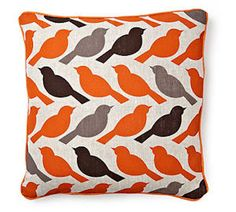 Birds of a feather pillow, orange by RoomService