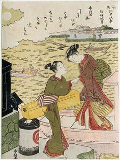 Suzuki Harunobu Title:Autumn Moon at Komagata (Komagata shûgetsu), from the series Eight Fashionable Views of Edo (Fûryû Edo hakkei) Date:1768