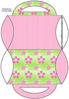 Caja almohada con asas, verde-rosa.