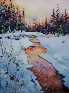 David Lobenberg Winter Watercolor, Winter Images, Sunrise Painting, Landscape Paintings, Winter Landscape, Watercolor Scenery, Beautiful Paintings, David Lobenberg, Sunset Painting