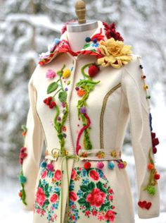 Bohemian floral romantic sweater COAT- Art to wear OOAK refashioned fantasy clothing, folk felted flowers coat. Size Medium. Ready to ship