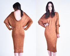 metallic gold knit batwing open back sweater dress / s / m via Etsy