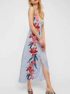 #AdoreWe #JustFashionNow Boho Dresses - Designer yinbo Send Off Light Blue Chiffon Floral Dress - AdoreWe.com