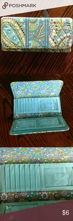 Vera Bradley Wallet Previously loved Vera Bradley wallet. Paisley print in yellow, gray, aqua, and white. Small stains on inside as shown. Minor fraying as shown in photo as well. Priced accordingly. Vera Bradley Bags Wallets