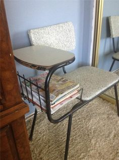 50s 60s Vintage Mid Century Modern Gossip Phone Chair Seat Bench Speckled Vinyl - My Nifty Thrifty