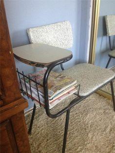 50s 60s Vintage Mid Century Modern Gossip Phone Chair Seat Bench Speckled  Vinyl