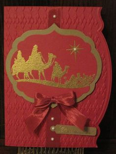 Adorning Accents Bethlehem--Stamp Set: Come to Bethlehem   Card Stock: Cherry Cobbler, Soft Suede   Ink: Versa Mark   Adorning Accents Edgelits and Folder, Argyle Folder, Labels Collection Framelits, Gold Embossing Powder, Cherry Cobbler seam binding, pearls, jewelry tag punch